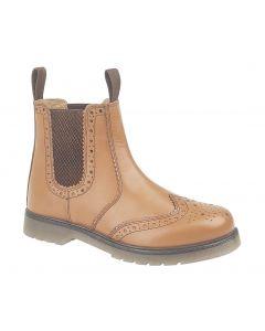 Leather Brogue Gusset Dealer Boots